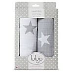 Lulajo Baby 2-Pack Stars Muslin Swaddle Blanket Set in White