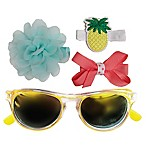 So'dorable 4-Piece Girls Sunglasses and Hair Clip Set in Yellow/Mint/Coral