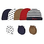 Hudson Baby® Size 0-6M 8-Piece Bonjour Cap and Scratch Mitten Set