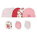 Hudson Baby® Size 0-6M 8-Piece Strawberries Cap and Scratch Mitten Set