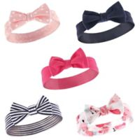 Hudson Baby® 5-Pack Patterned Headbands in Navy/Pink