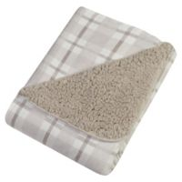 Trend Lab® Plaid Flannel and Faux Shearling Blanket in Grey/White