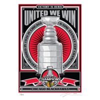 NHL Chicago Blackhawsk 2015 Stanley Cup Champions Metallic Ink Serigraph