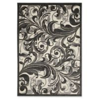 Nourison Scrolling Leaves 5-Foot 3-Inch x 7-Foot 5-Inch Multicolor Area Rug
