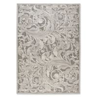 Nourison Scrolling Leaves 7-Foot 9-Inch x 10-Foot 10-Inch Area Rug in Grey/Camel