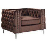 Chic Home Picasso Velvet Club Chair in Brown