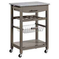 Linon Home Roger Kitchen Island with Granite Top in Grey