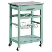 Linon Home Roger Kitchen Island with Granite Top in Green