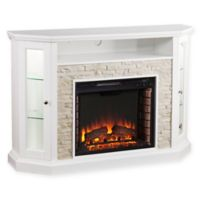 Southern Enterprises Redden Corner Convertible Electric Media Fireplace in White