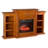 Southern Enterprises Tennyson Infrared Electric Fireplace with Bookcases in Glazed Pine