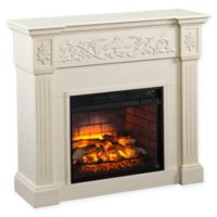 Southern Enterprises Calvert Carved Infrared Electric Fireplace in Ivory