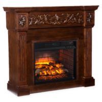 Southern Enterprises Calvert Carved Infrared Electric Fireplace in Espresso