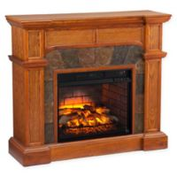 Southern Enterprises Cartwright Corner Stone Infrared Electric Fireplace in Oak