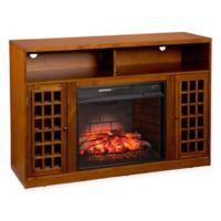 Southern Enterprises Narita Infrared Electric Fireplace with Media Stand in Pine