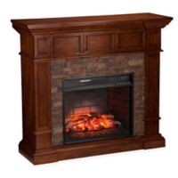 Southern Enterprises Merrimack Stone Corner Infrared Fireplace in Oak
