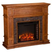 Southern Enterprises Belleview Simulated Stone Media Center Electric Fireplace in Sienna