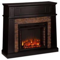 Southern Enterprises Crestwick Stone Electric Media Fireplace in Black