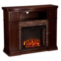 Southern Enterprises Hillcrest Stone Electric Media Fireplace in Espresso