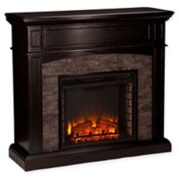 Southern Enterprises Grantham Stone Corner Electric Media Fireplace in Ebony