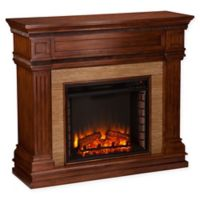 Southern Enterprises Faircrest Stone Look Electric Fireplace in Oak
