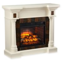 Southern Enterprises Carrington Faux Slate Convertible Infrared Electric Fireplace in Ivory