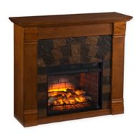 Southern Enterprises Elkmont Faux Stone Infrared Electric Fireplace in Salem Antique Oak