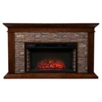 Southern Enterprises Canyon Heights Simulated Stone Electric Fireplace in Maple