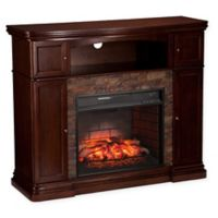 Southern Enterprises Hillcrest Stone Infrared Media Fireplace in Espresso
