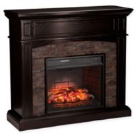 Southern Enterprises Grantham Stone Corner Infrared Electric Media Fireplace in Ebony