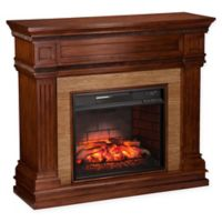 Southern Enterprises Faircrest Stone Infrared Electric Fireplace in Oak