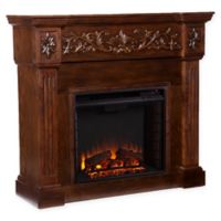 Southern Enterprises Calvert Carved Electric Fireplace in Espresso