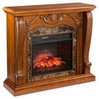 Southern Enterprises Cardona Marble Infrared Electric Fireplace in Walnut