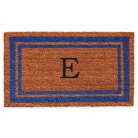 "Home & More Border Monogram Letter ""E"" 24-Inch x 36-Inch Door Mat in Blue"