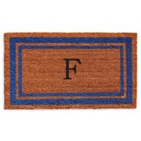 "Home & More Border Monogram Letter ""F"" 24-Inch x 36-Inch Door Mat in Blue"