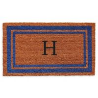 "Home & More Border Monogram Letter ""H"" 24-Inch x 36-Inch Door Mat in Blue"