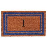 "Home & More Border Monogram Letter ""I"" 24-Inch x 36-Inch Door Mat in Blue"