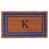 """Home & More Border Monogram Letter """"K"""" 18-Inch x 30-Inch Door Mat in Blue"""