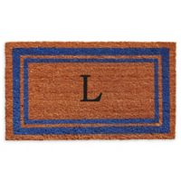 "Home & More Border Monogram Letter ""L"" 24-Inch x 36-Inch Door Mat in Blue"