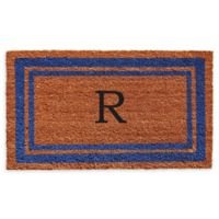 "Home & More Border Monogram Letter ""R"" 24-Inch x 36-Inch Door Mat in Blue"