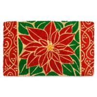 Entryways Perfect Poinsettia 18-Inch x 30-Inch Coconut Fiber Multicolor Door Mat