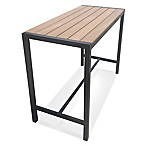 Metro Steel Outdoor Slat-Top Rectangular Bar Height Table in Dark Walnut