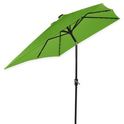 9.5 Foot Rectangle Market Umbrella With Solar LED Lights In Palm/Bronze