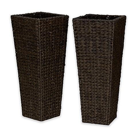 Household Essentials Resin Wicker Floor Vase Planters Set Of 2
