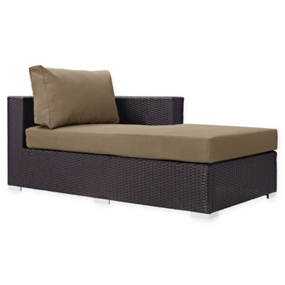 modway convene outdoor patio right arm facing chaise lounge in mocha