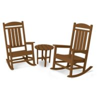POLYWOOD® Presidential 3-Piece Rocker Set with Round Table in Teak