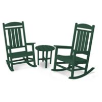 POLYWOOD® Presidential 3-Piece Rocker Set with Round Table in Green