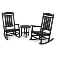 POLYWOOD® Presidential 3-Piece Rocker Set with Round Table in Black