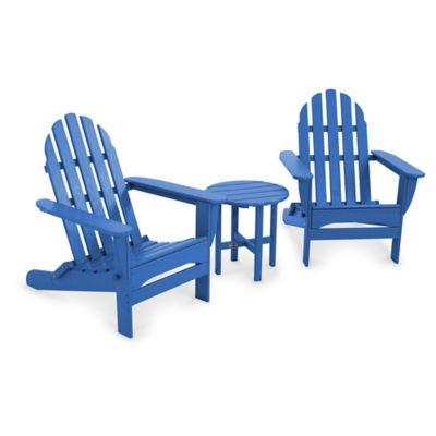 POLYWOOD® Folding Adirondack 3 Piece Set In Pacific Blue