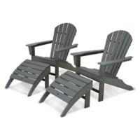 POLYWOOD® South Beach Adirondack 4-Piece Set in Slate Grey