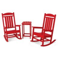 POLYWOOD® Presidential 3-Piece Rocker Set with Square Table in Sunset Red